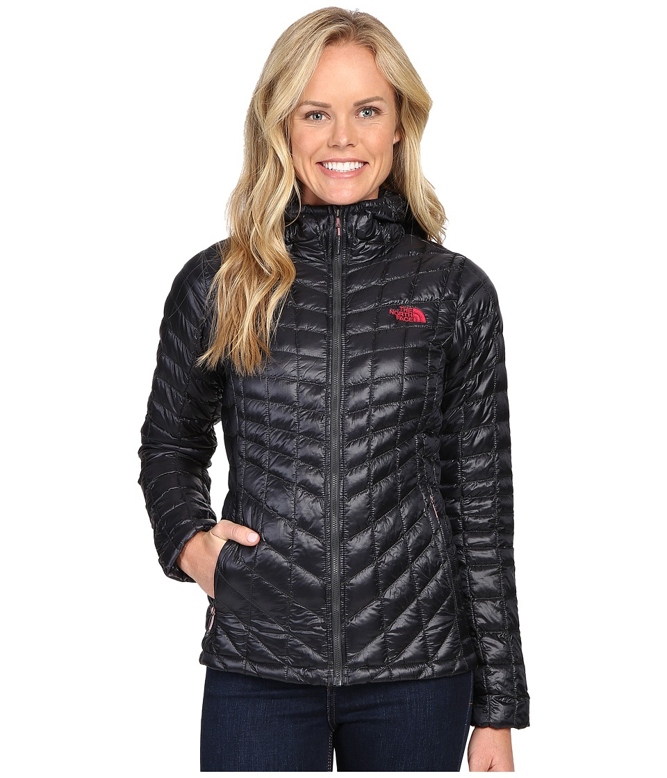 The North Face - ThermoBall Hoodie (Asphalt Grey/Cerise Pink) Women's Coat