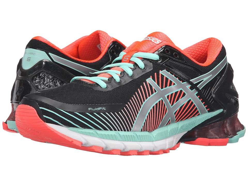 ASICS - GEL-Kinsei 6 (Black/Silver/Flash Coral) Women's Running Shoes