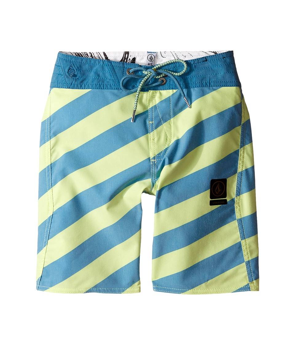 Volcom Kids - Stripey Slinger Boardshorts (Big Kids) (Lime Ice) Boy's Swimwear