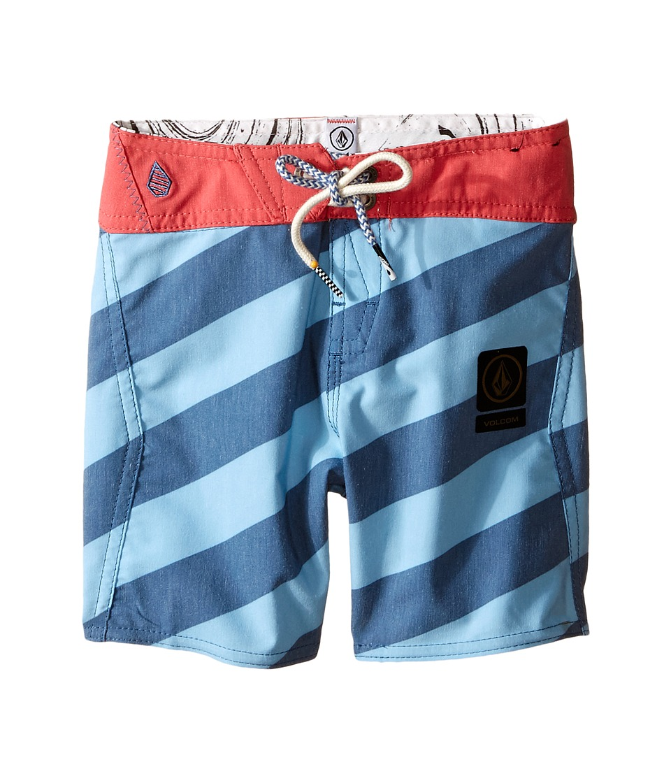 Volcom Kids - Stripey Slinger Boardshorts (Big Kids) (Smokey Blue) Boy's Swimwear