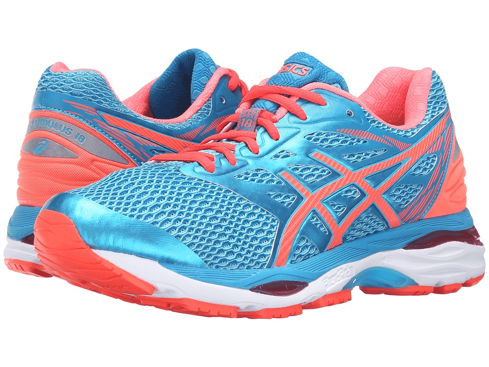 ASICS - Gel-Cumulus(r) 18 (Aquarium/Flash Coral/Blue Jewel) Women's Running Shoes