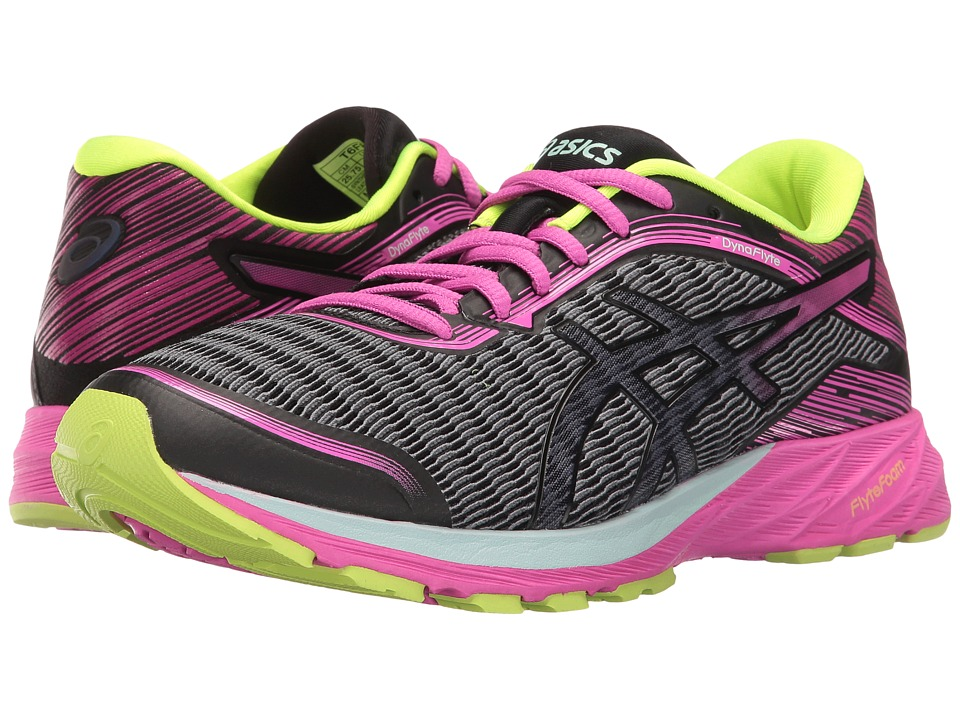 ASICS - DynaFlyte (Black/Pink Glow/Safety Yellow) Women's Running Shoes