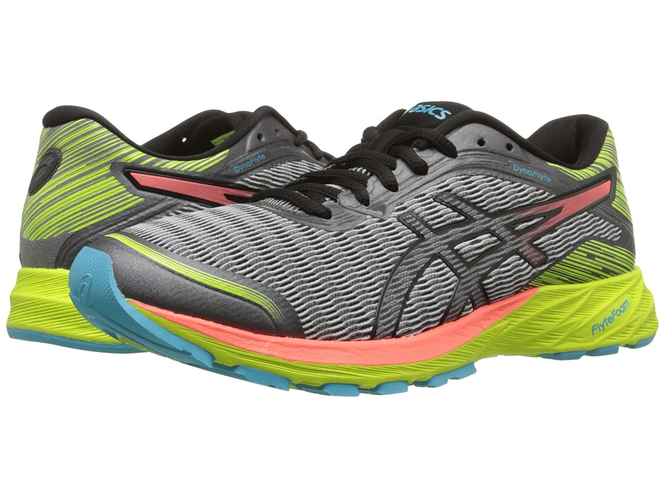 ASICS - DynaFlyte (Mid Grey/Flash Coral/Safety Yellow) Women's Running Shoes