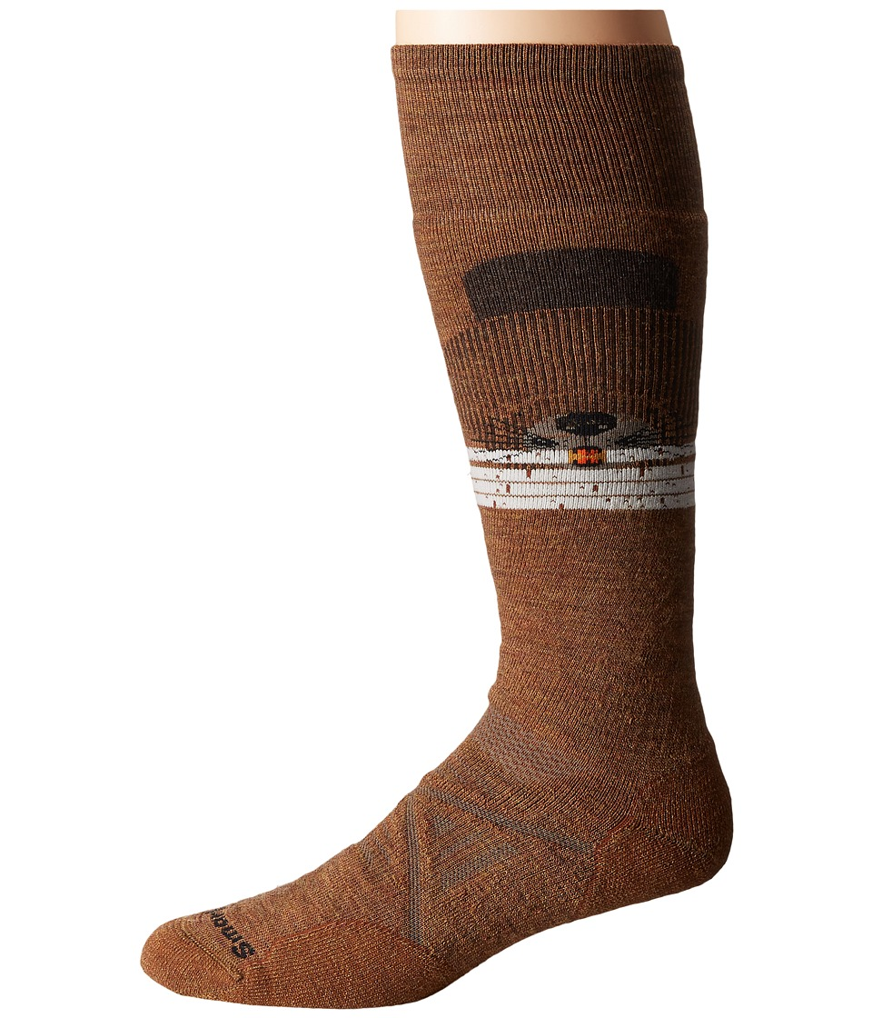 Smartwool - PhD Ski Medium: Charley Harper Rocky Mountain Beaver (Caramel Heather) Men's Knee High Socks Shoes