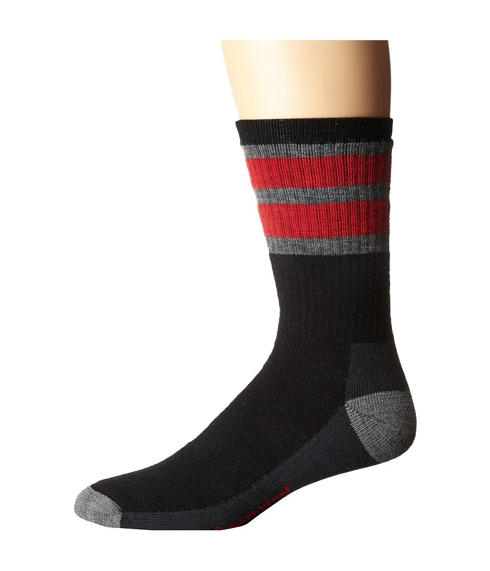 Smartwool - Stripe Hike Medium Crew (Black/Light Gray) Men's Crew Cut Socks Shoes