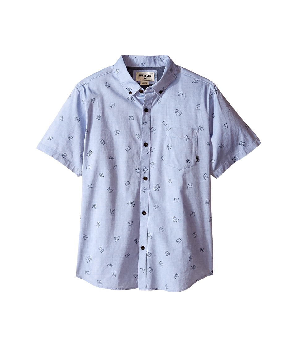 Billabong Kids - Metric Poplin Woven Top (Big Kids) (Blue) Boy's Short Sleeve Button Up