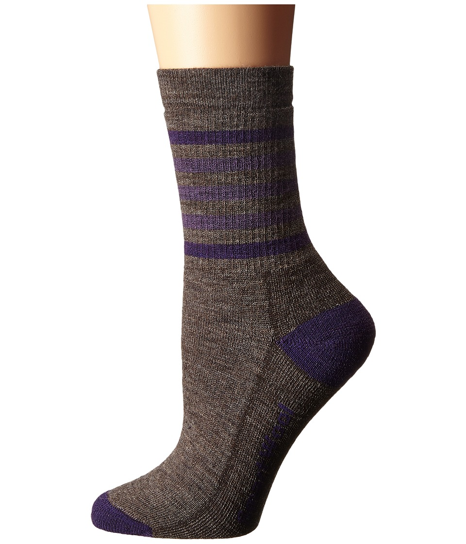 Smartwool - Striped Hike Medium Crew (Taupe/Mountain Purple) Women's Crew Cut Socks Shoes