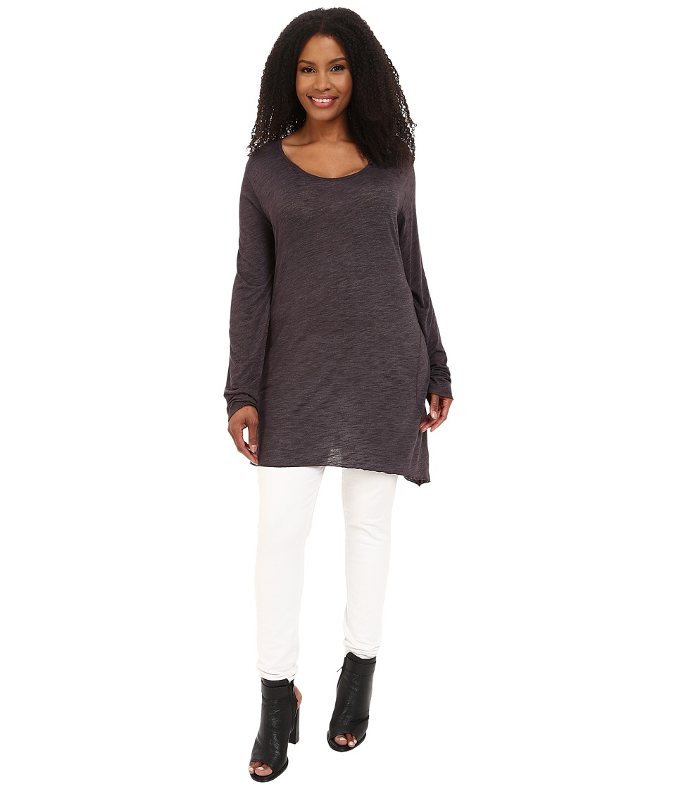 Allen Allen - Plus Size Long Sleeve Scoop Angled Tee (Jet Grey) Women's T Shirt