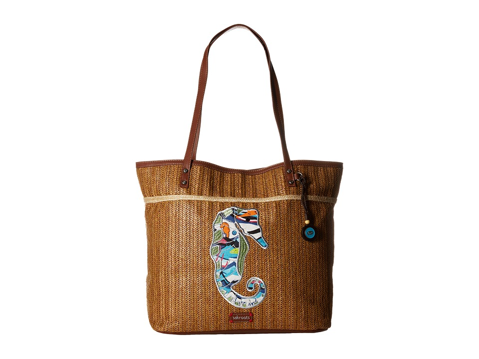 Sakroots - Artist Circle Straw XL Tote (Aqua Water Nation) Tote Handbags