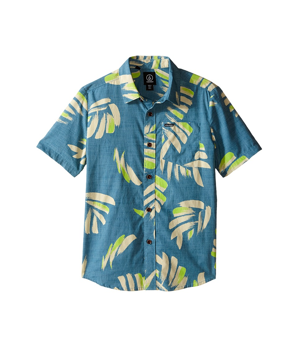 Volcom Kids - Brush Palm Short Sleeve Woven Top (Big Kids) (Stormy Blue) Boy's Short Sleeve Button Up