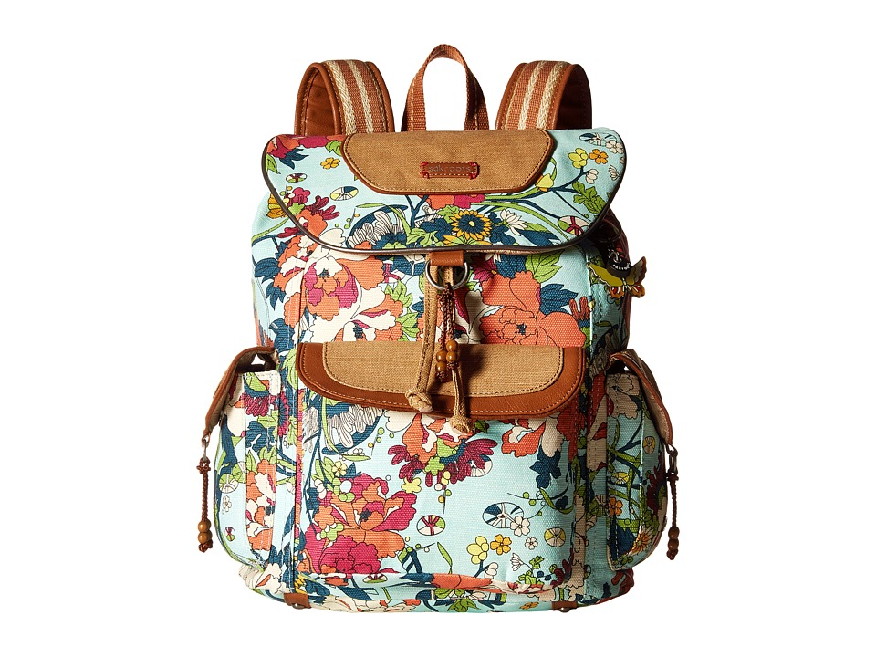 Sakroots - Sakroots Artist Circle Flap Backpack (Seafoam Flower Power) Backpack Bags