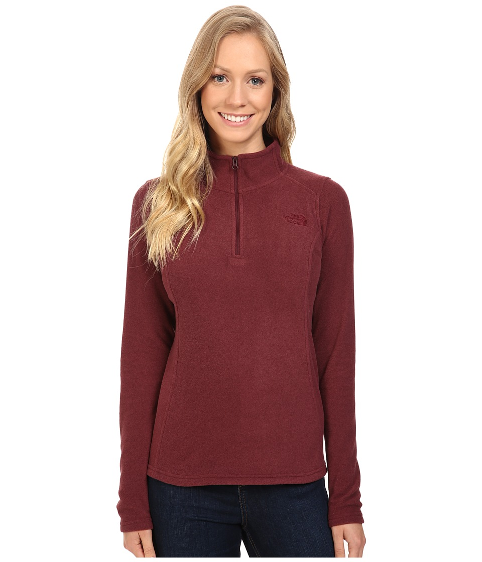The North Face - Glacier 1/4 Zip Fleece Top (Deep Garnet Red Heather) Women's Fleece