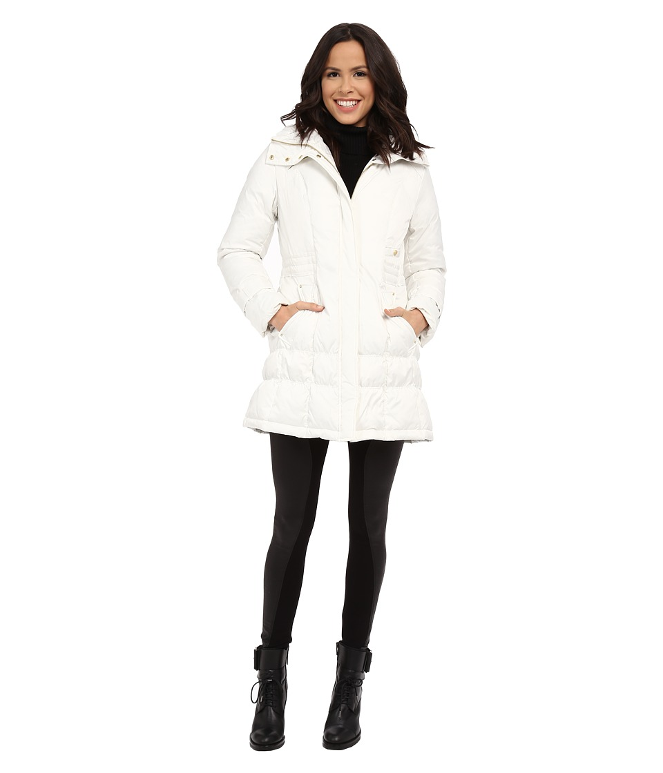 Cole Haan - Down Coat with Cinch Bottom and Large Collar (Ivory) Women's Coat