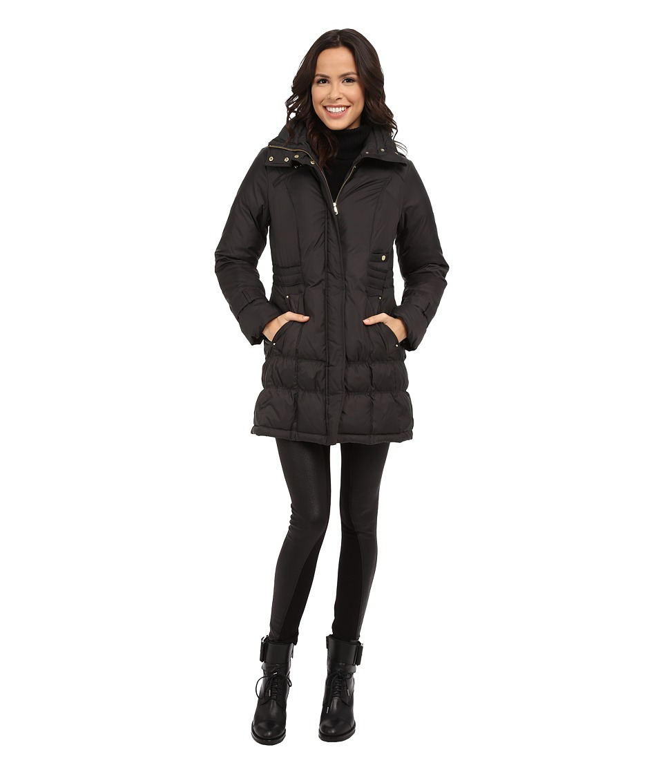 Cole Haan Down Coat with Cinch Bottom and Large Collar (Charcoal) Women