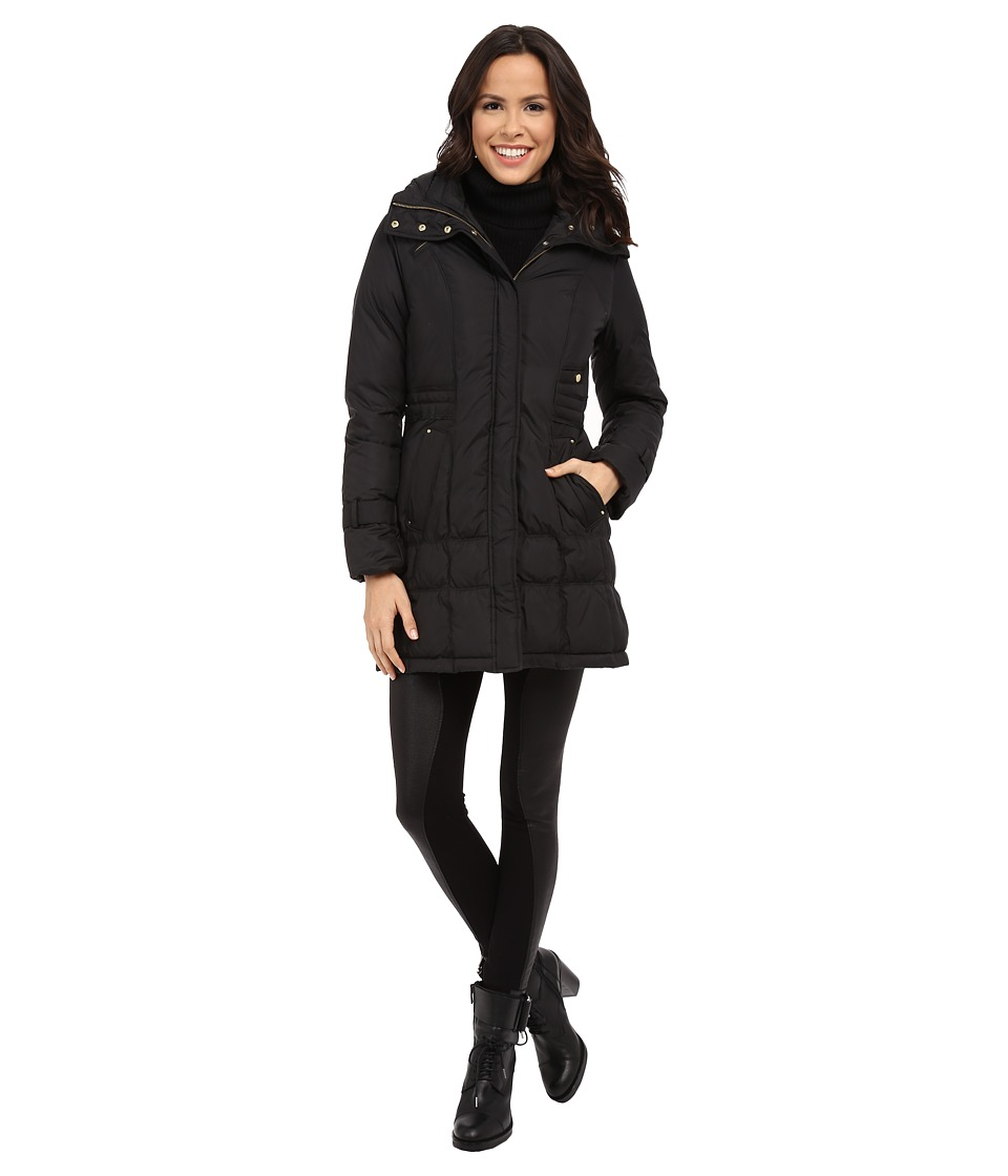 Cole Haan - Down Coat with Cinch Bottom and Large Collar (Black) Women's Coat