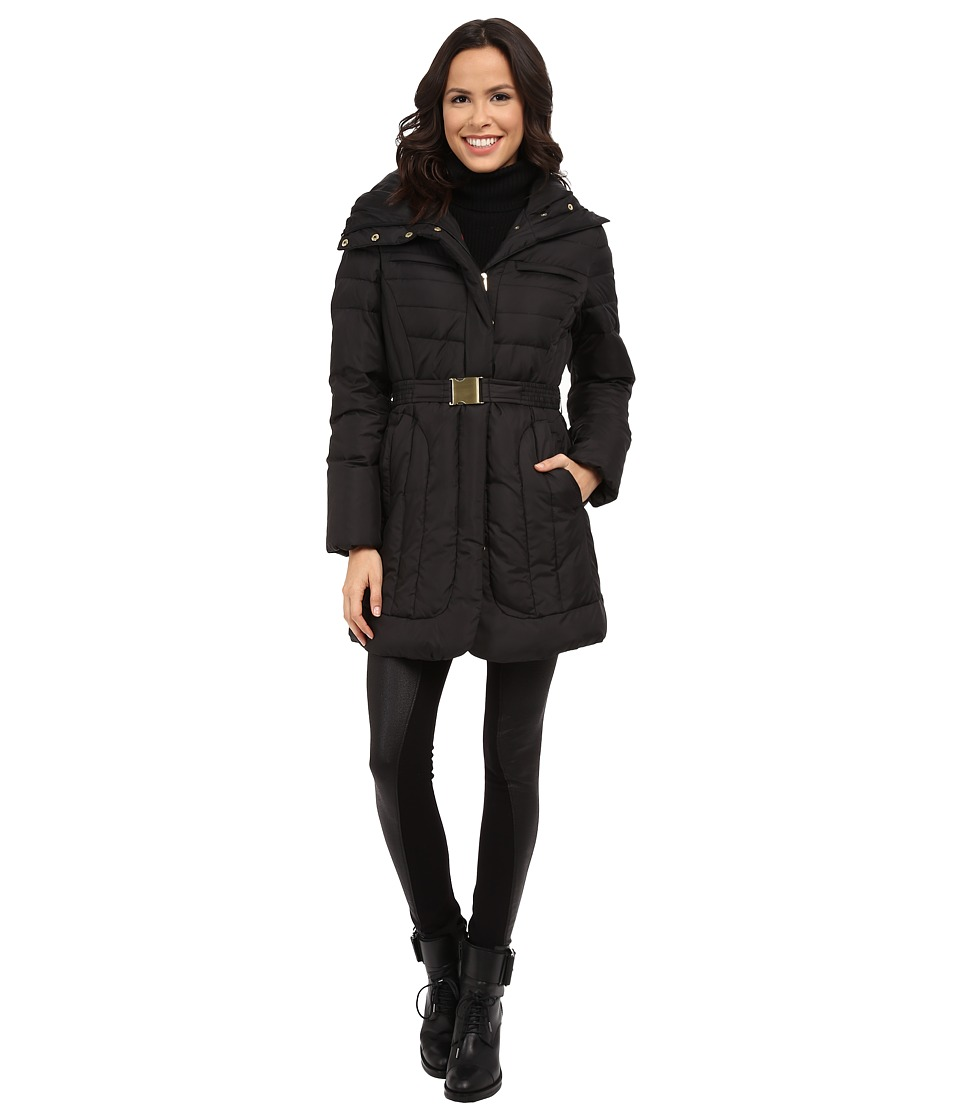 Cole Haan - Belted Single Breasted Down Jacket (Black) Women's Coat