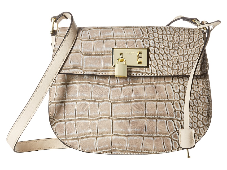 London Fog - Hudson Saddle Bag (Sand Croco) Cross Body Handbags