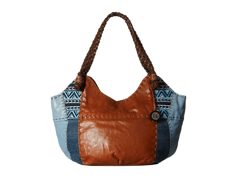 The Sak - Indio Satchel (Blue Denim Embroidery) Shoulder Handbags
