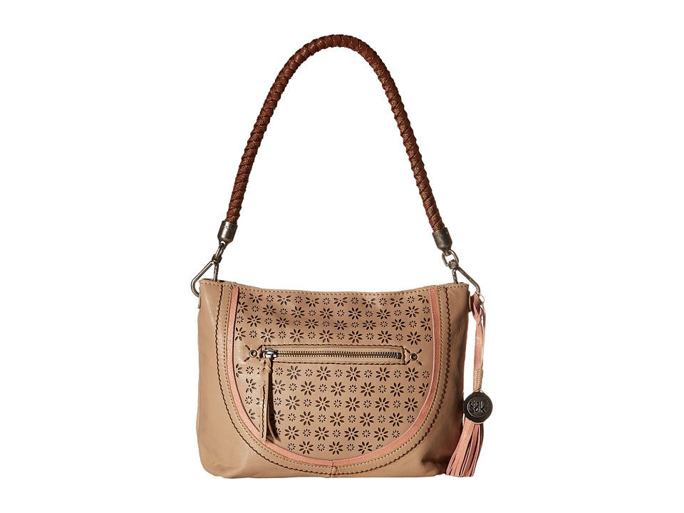 The Sak - Indio Leather Demi (Taupe Floral Perf) Shoulder Handbags
