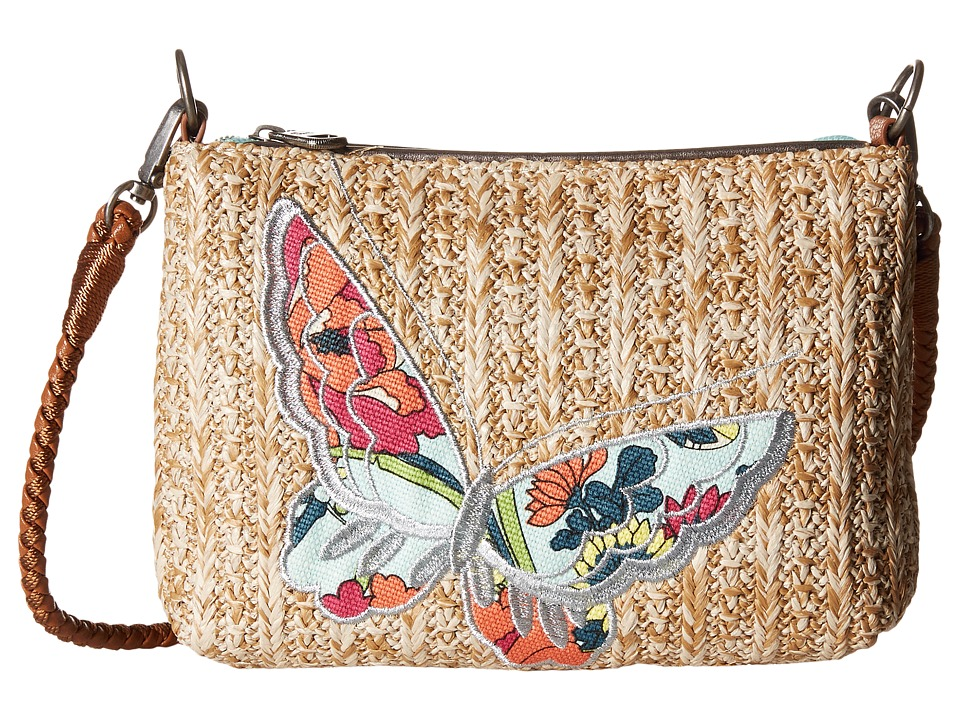 Sakroots - Artist Circle Straw Campus Mini (Seafoam Flower Power) Cross Body Handbags
