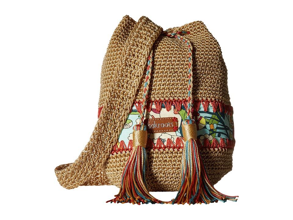Sakroots - Artist Circle Crochet Drawstring (Seafoam Flower Power) Drawstring Handbags