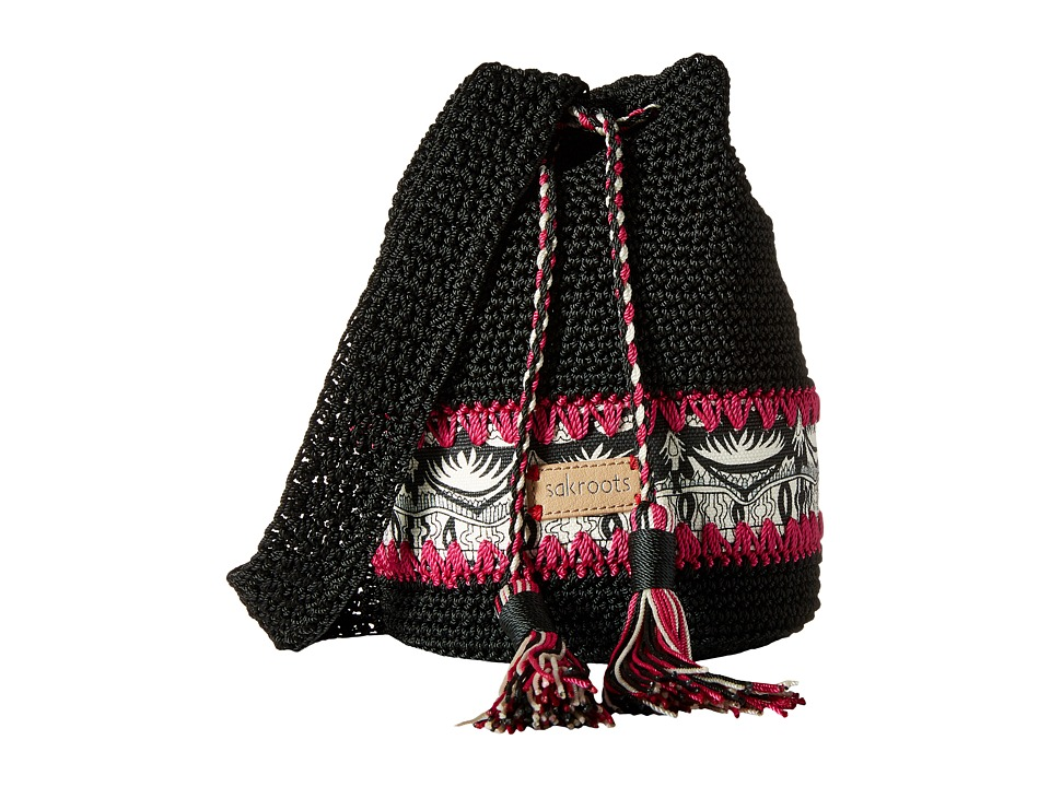 Sakroots - Artist Circle Crochet Drawstring (Black/White One World) Drawstring Handbags
