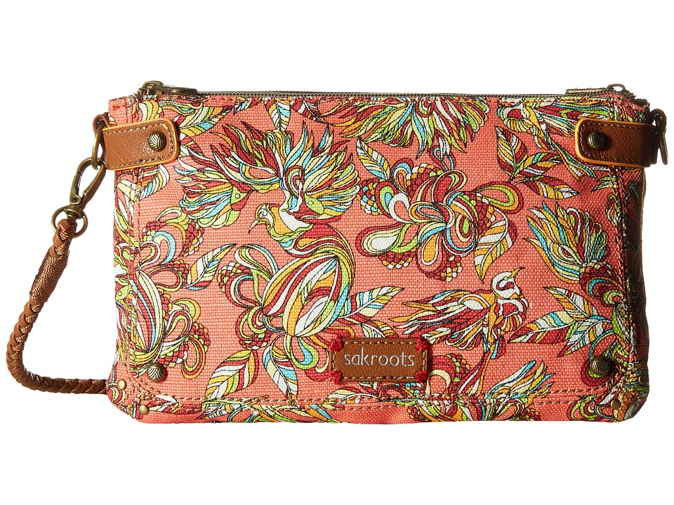 Sakroots - Artist Circle Triple Gusset Mini (Coral Treehouse) Cross Body Handbags