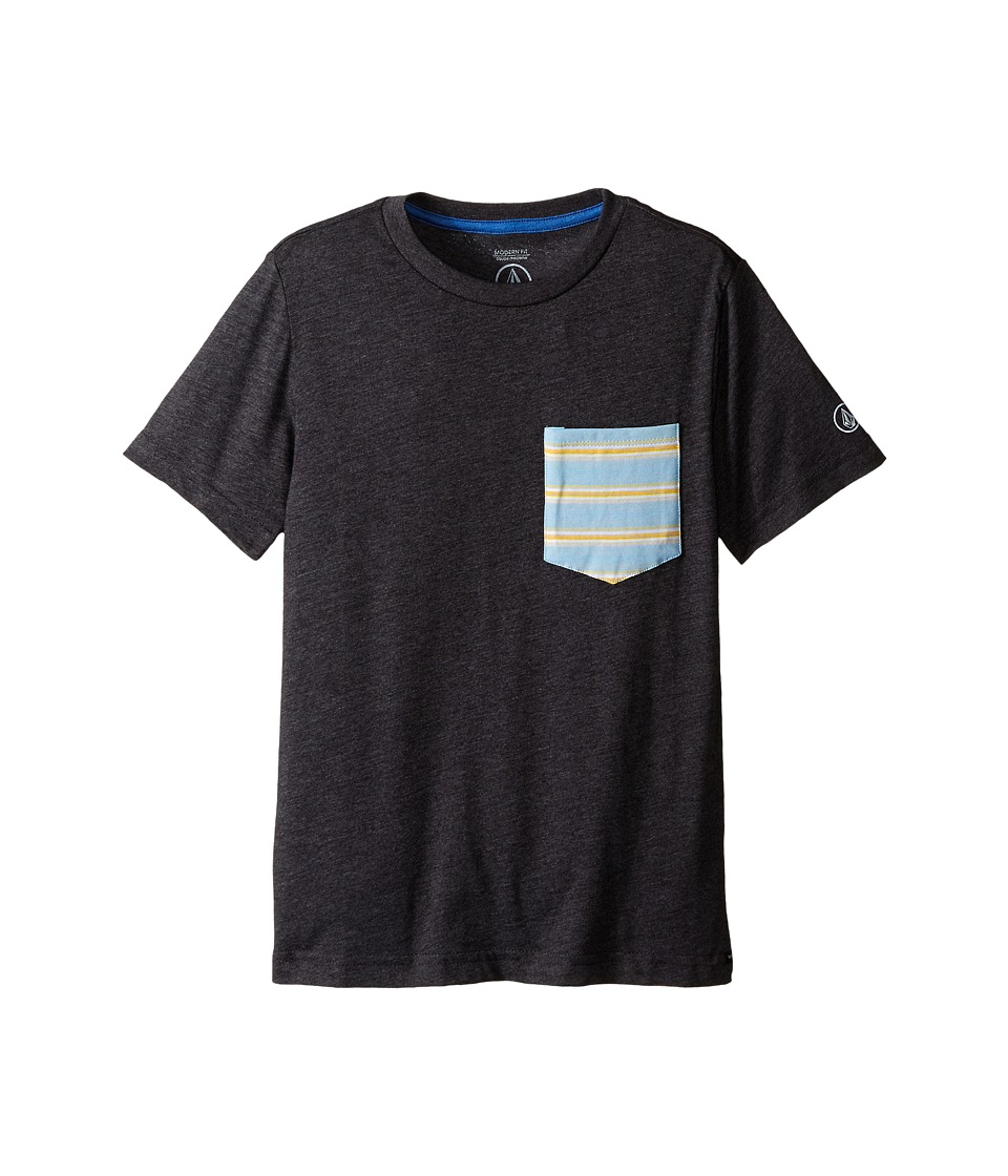 Volcom Kids - Stripe Short Sleeve Pocket Tee (Big Kids) (Heather Black) Boy's T Shirt