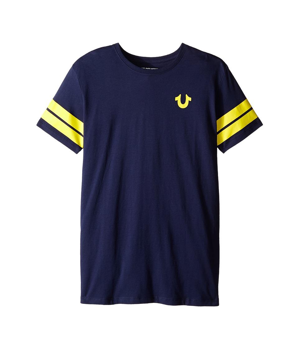 True Religion Kids - Varsity Paneled Tee Shirt (Big Kids) (Midnight) Boy