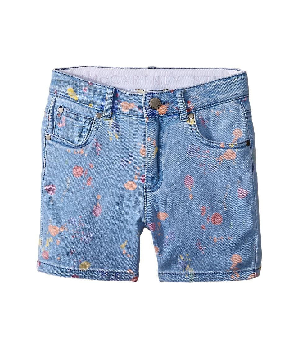 Stella McCartney Kids - Blake Paint Splash Denim Shorts (Toddler/Little Kids/Big Kids) (Light Denim) Girl's Shorts