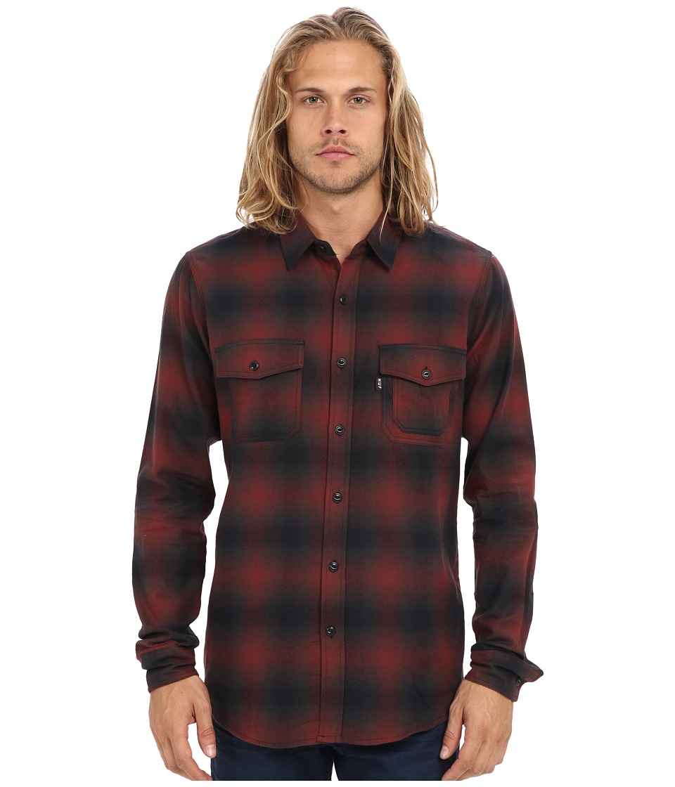HUF - Slauson Long Sleeve Plaid (Wine/Black) Men's Long Sleeve Button Up