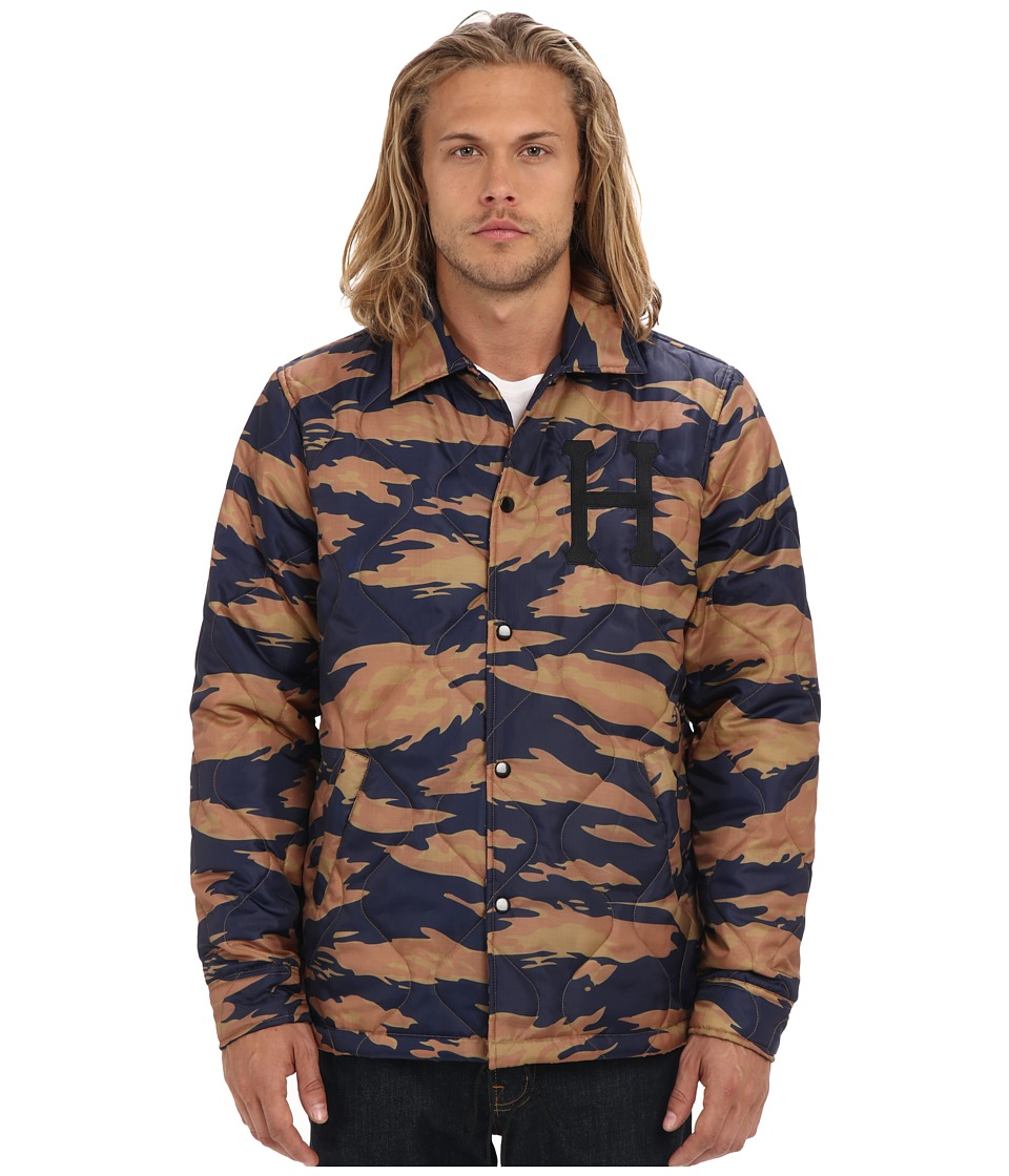 HUF - Quilted Coach's Jacket (Golden Tiger Stripe Camo) Men's Coat