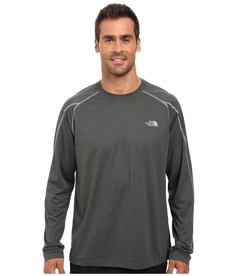 The North Face - Voltage Long Sleeve Crew (Spruce Green Heather/Mid Grey) Men's Clothing