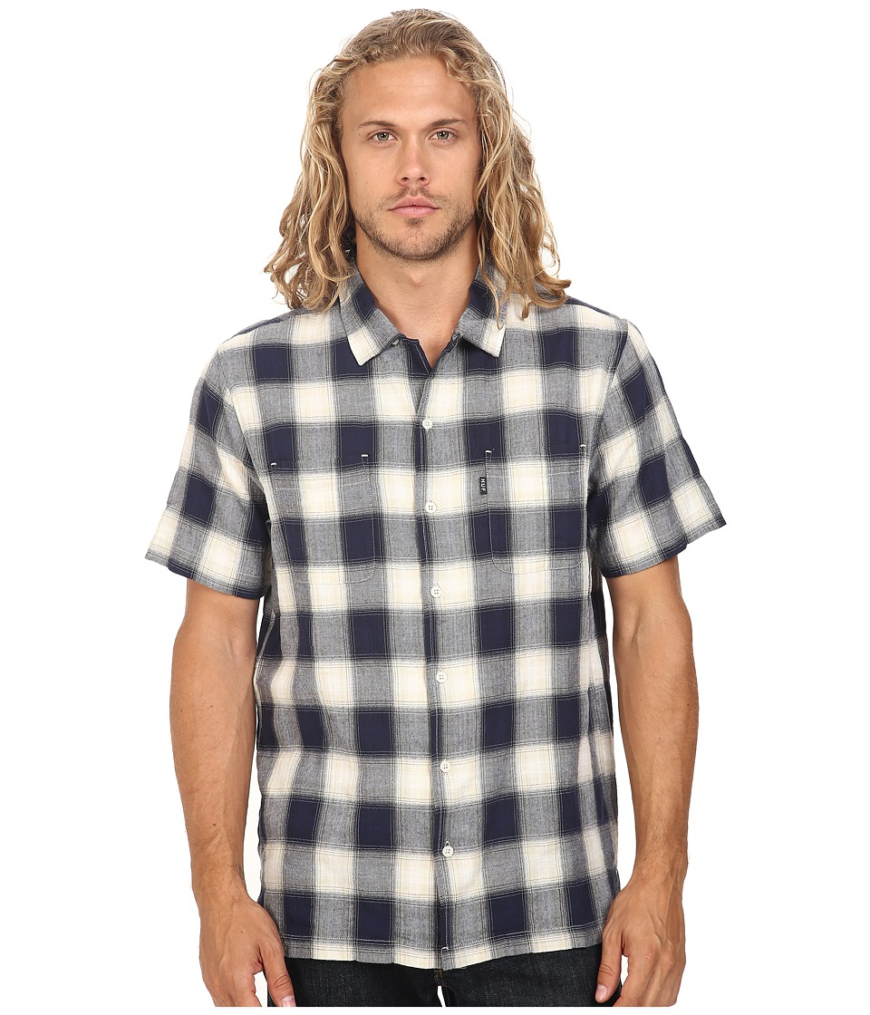 HUF - Wilson Short Sleeve Plaid Shirt (Blue) Men's Clothing
