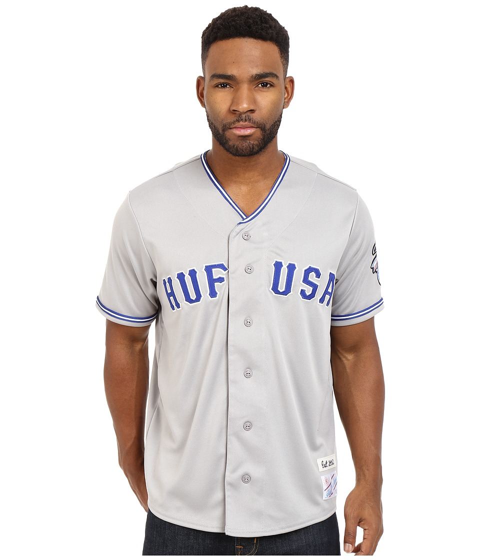 HUF - Territory Baseball Jersey (Grey) Men's Clothing