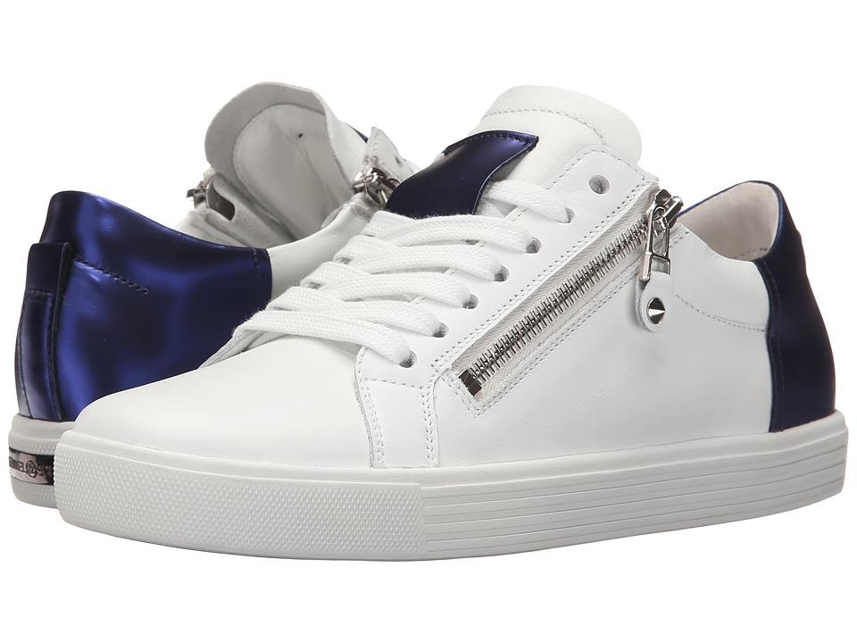 Kennel & Schmenger - Town Double Zip Metallic Contrast (White Leather/Royal Blue Specchio) Women's Shoes