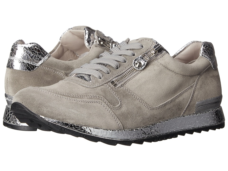 Kennel & Schmenger - Runner Metallic Crackle (Stone Suede/Silver) Women's Shoes