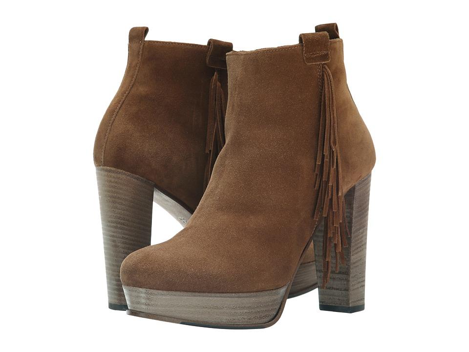 Kennel & Schmenger - Amina Fringe Heel Bootie (Cognac Suede) Women's Boots