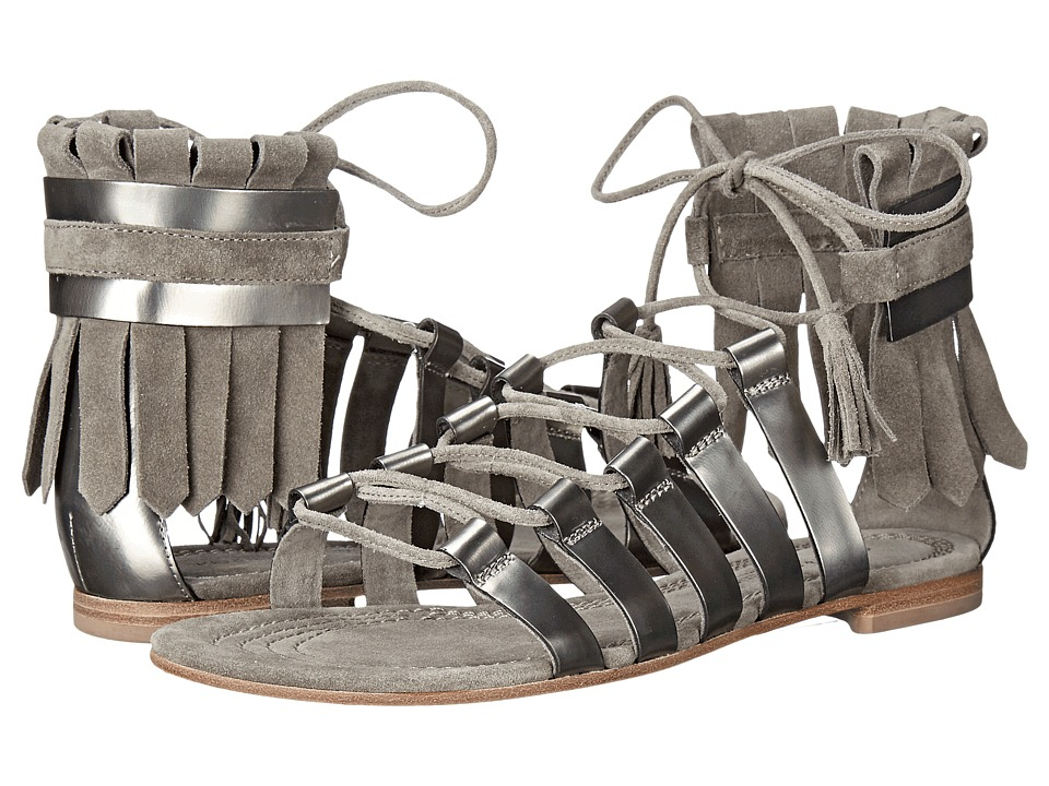 Kennel & Schmenger - Elle Fringe Sandal (Gunmetal Specchio/Stone Suede) Women's Sandals