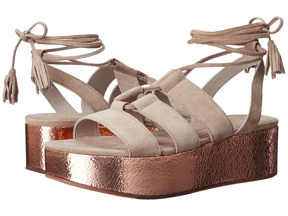 Kennel & Schmenger - Candy Metallic Flatform Sandal (Natural Suede/Rose Gold) Women's Sandals