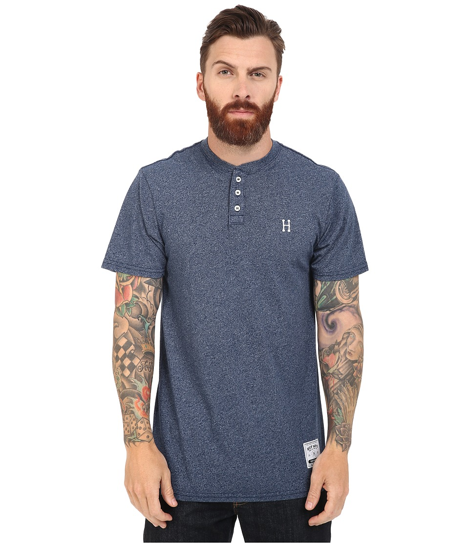 HUF - Premium Heather Henley (Navy) Men's Clothing