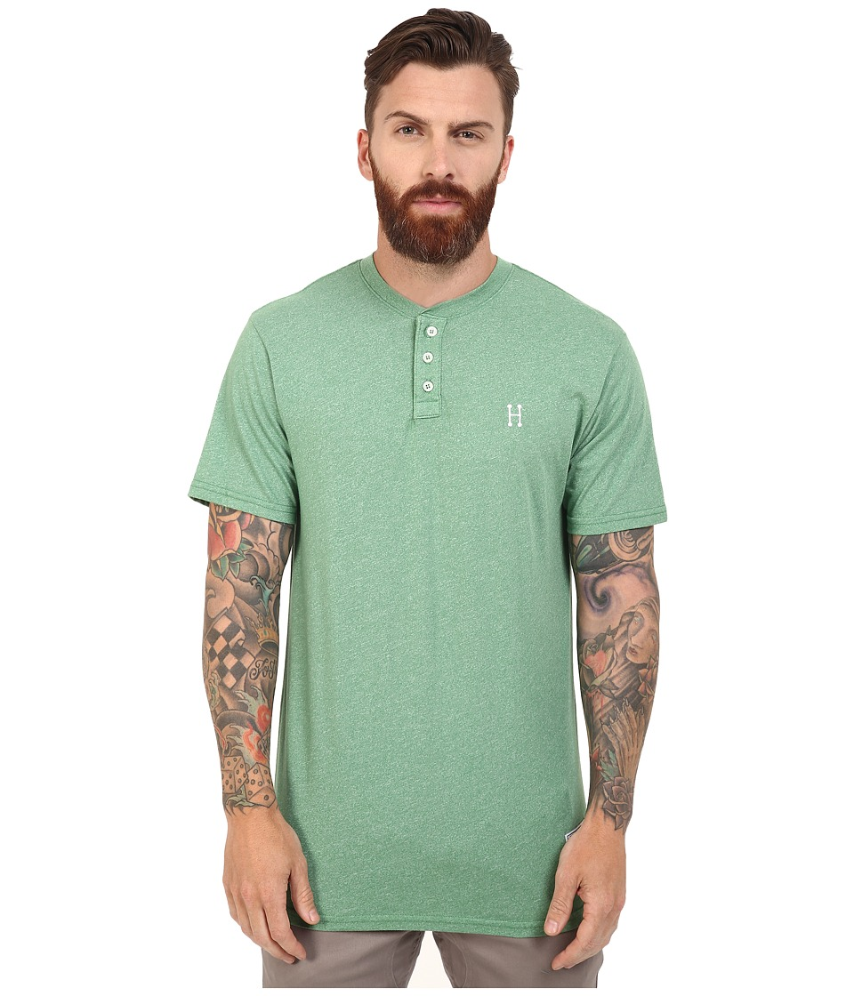 HUF - Premium Heather Henley (Sage) Men's Clothing