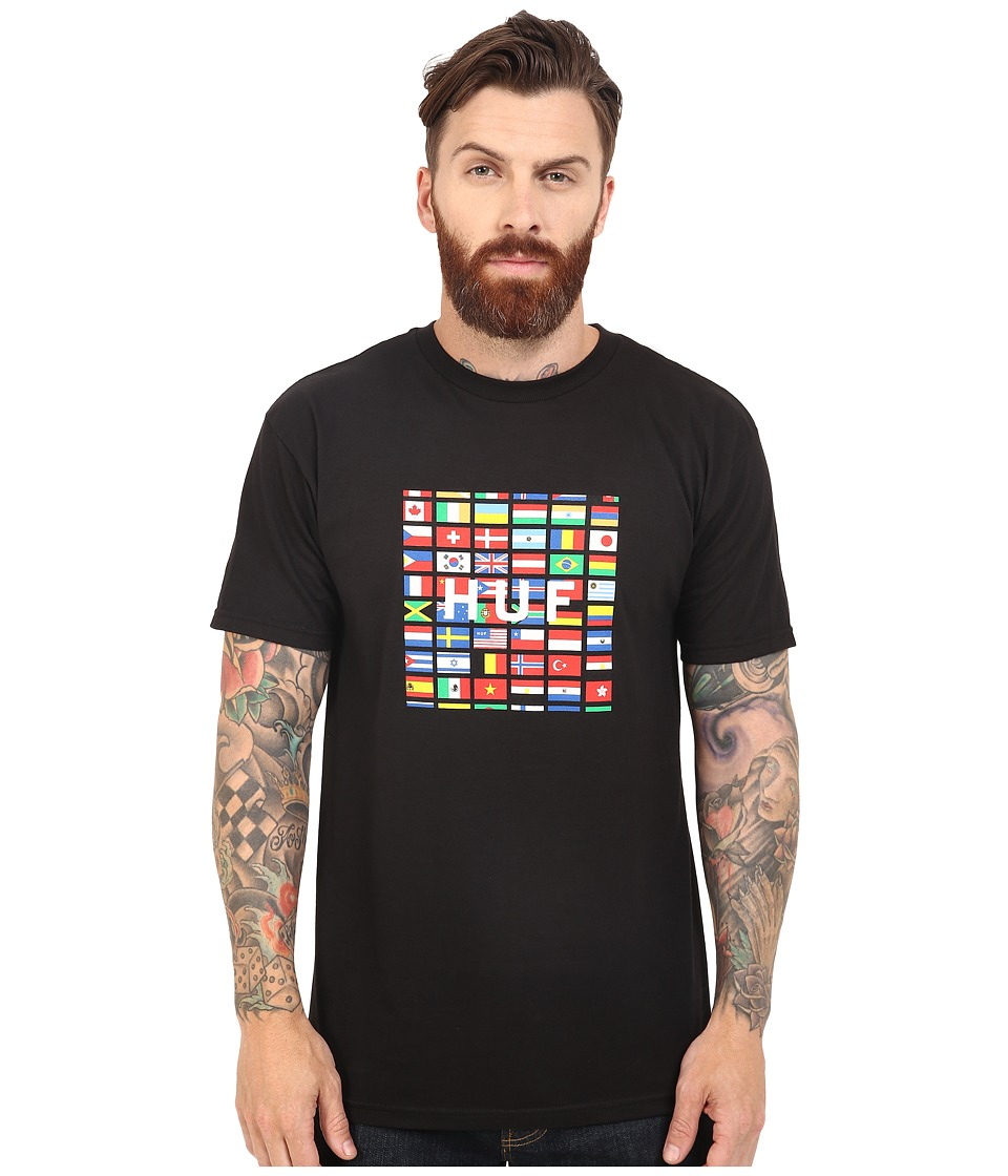 HUF - Flag Box Logo Tee (Black) Men's T Shirt
