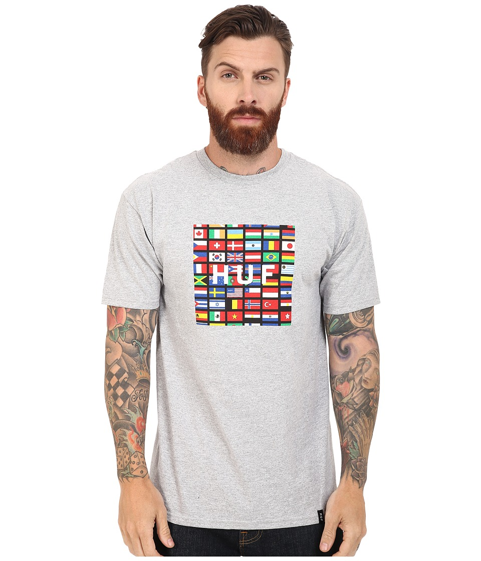 HUF - Flag Box Logo Tee (Grey Heather) Men's T Shirt