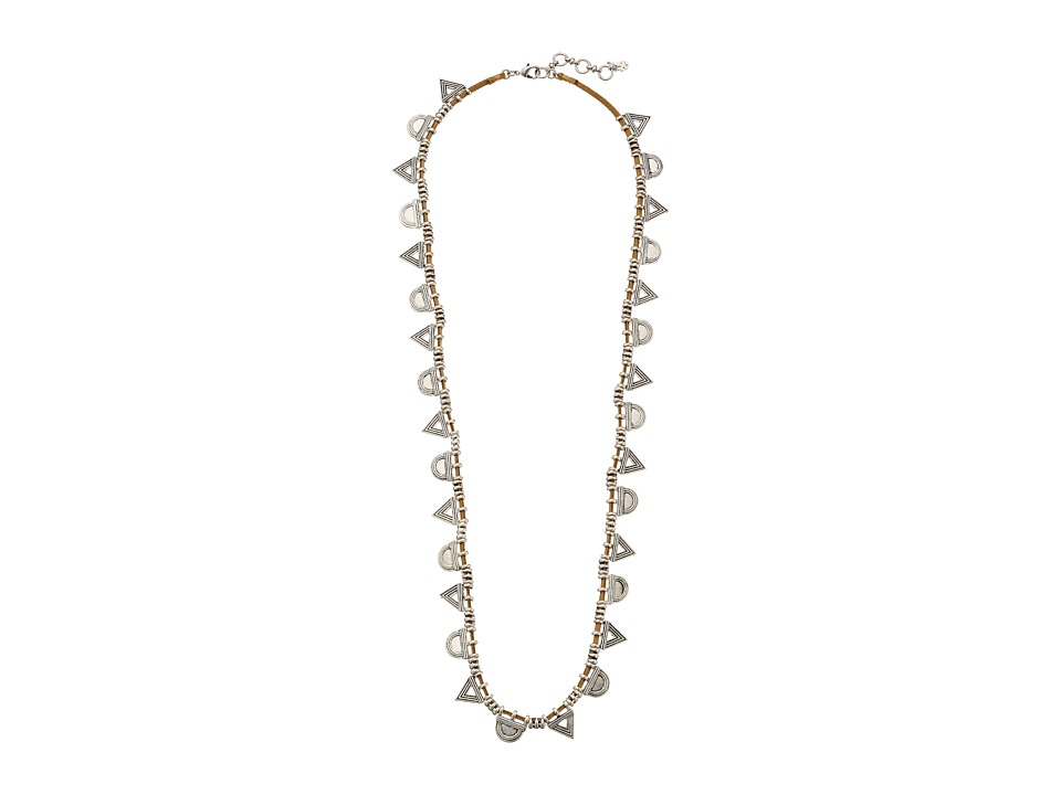 Lucky Brand - Leather and Silver Trainagle Necklace (Silver) Necklace