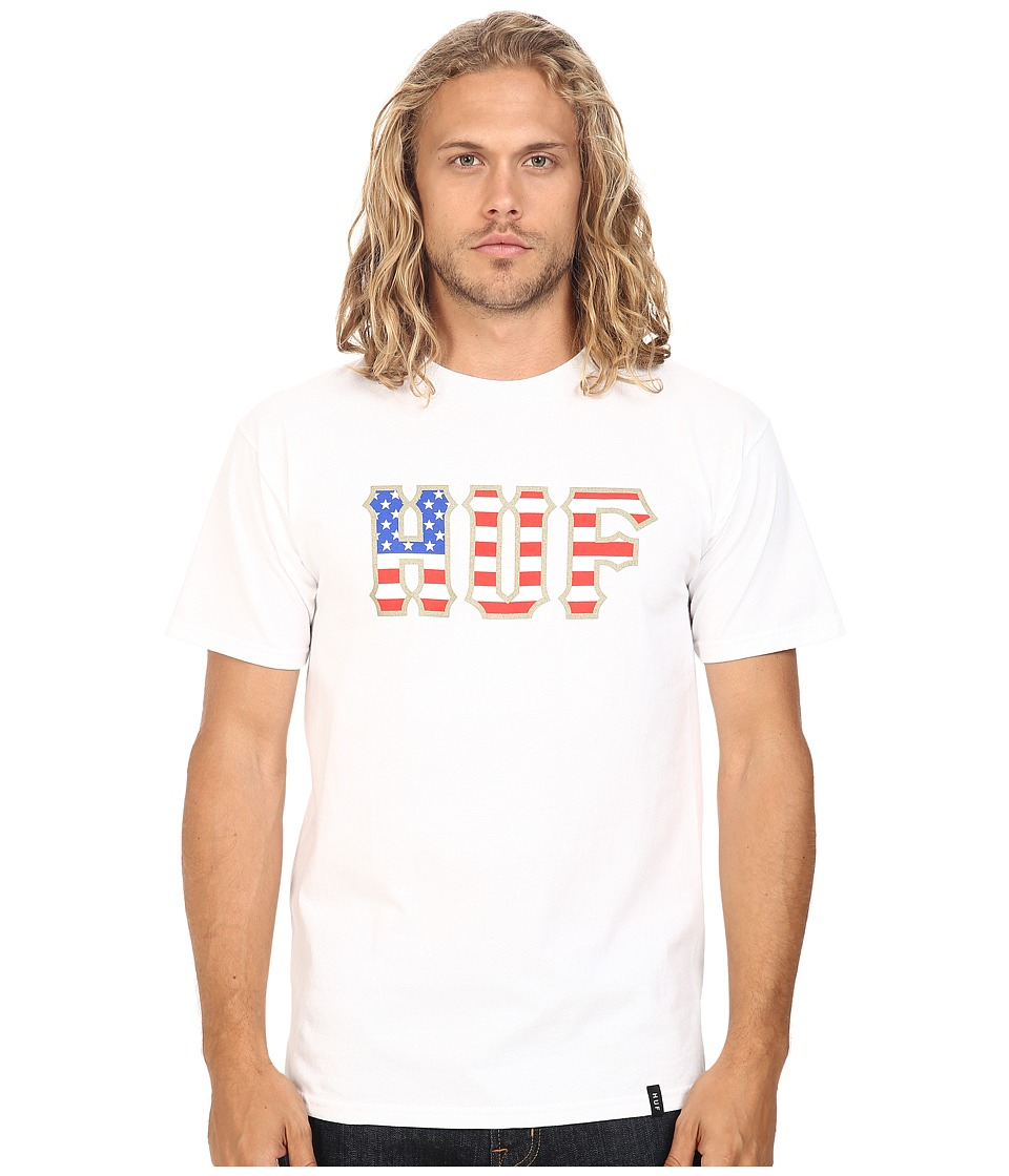 HUF - Americana Classic Logo Tee (White) Men's T Shirt