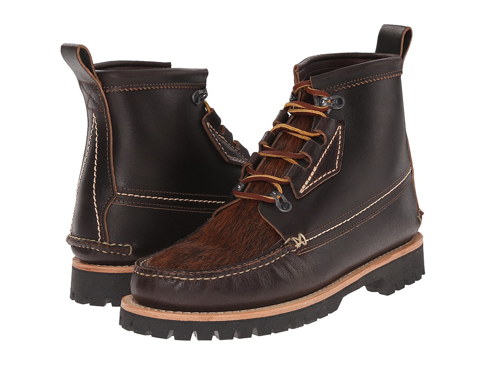 Yuketen - Maine Guide Boots Quebec Eyestay w/ Hair-On Cow (Wax Brown) Men's Boots