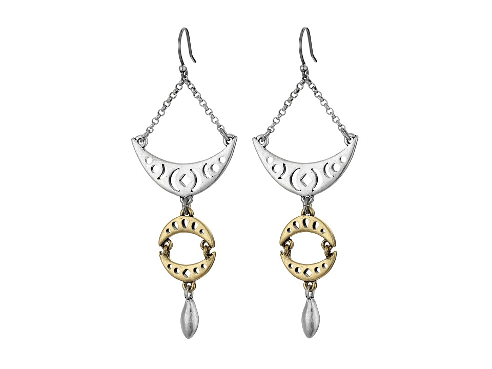 Lucky Brand - Floral Openwork Drop Earrings (Two-Tone) Earring