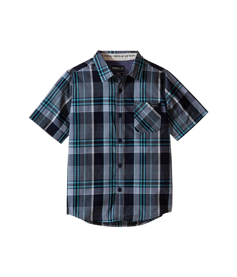 O'Neill Kids - Emporium Plaid Short Sleeve (Little Kids) (Dark Navy) Boy's Short Sleeve Button Up