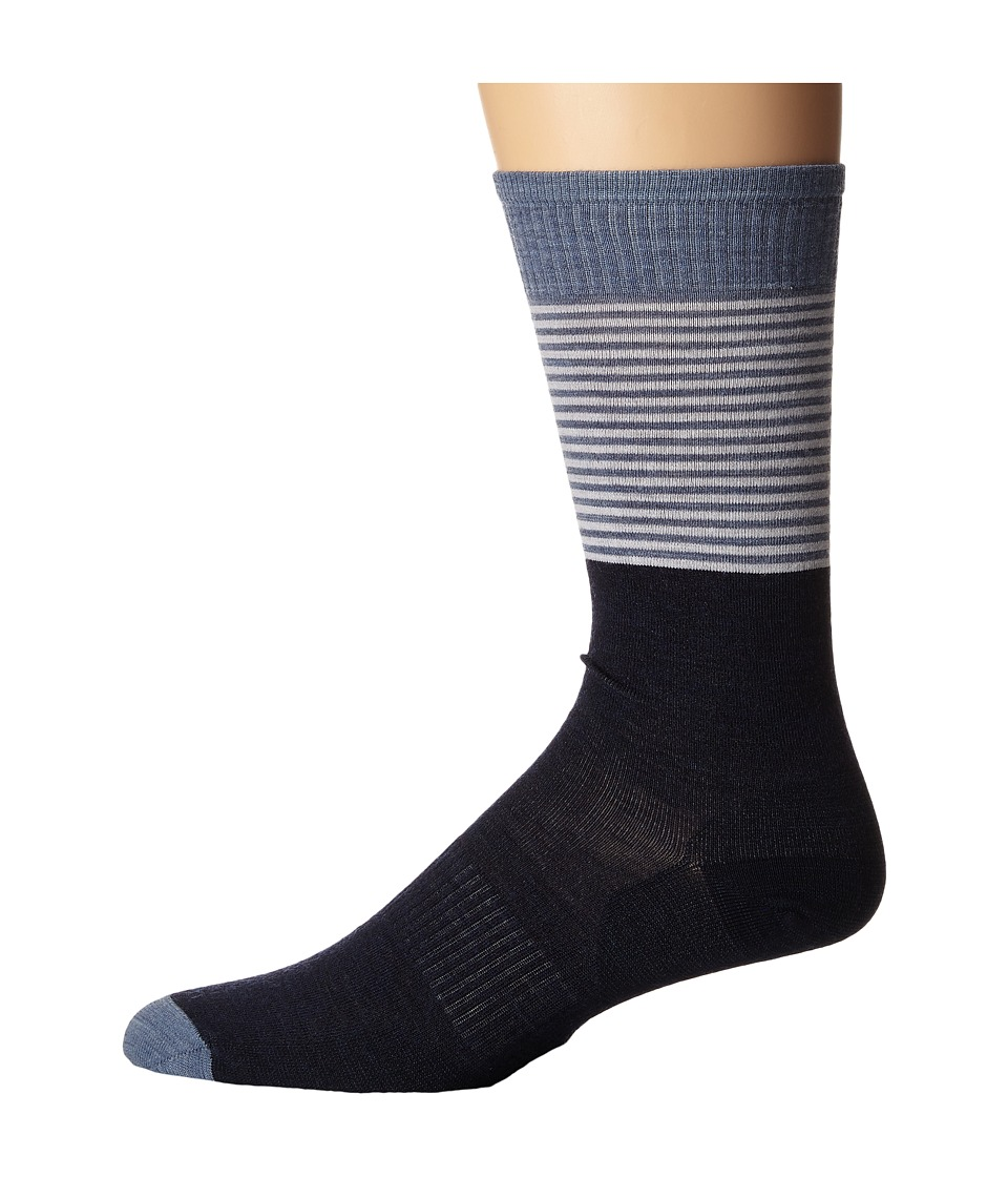 Smartwool - Tailored Stripe Crew (Deep Navy Heather) Men's Crew Cut Socks Shoes
